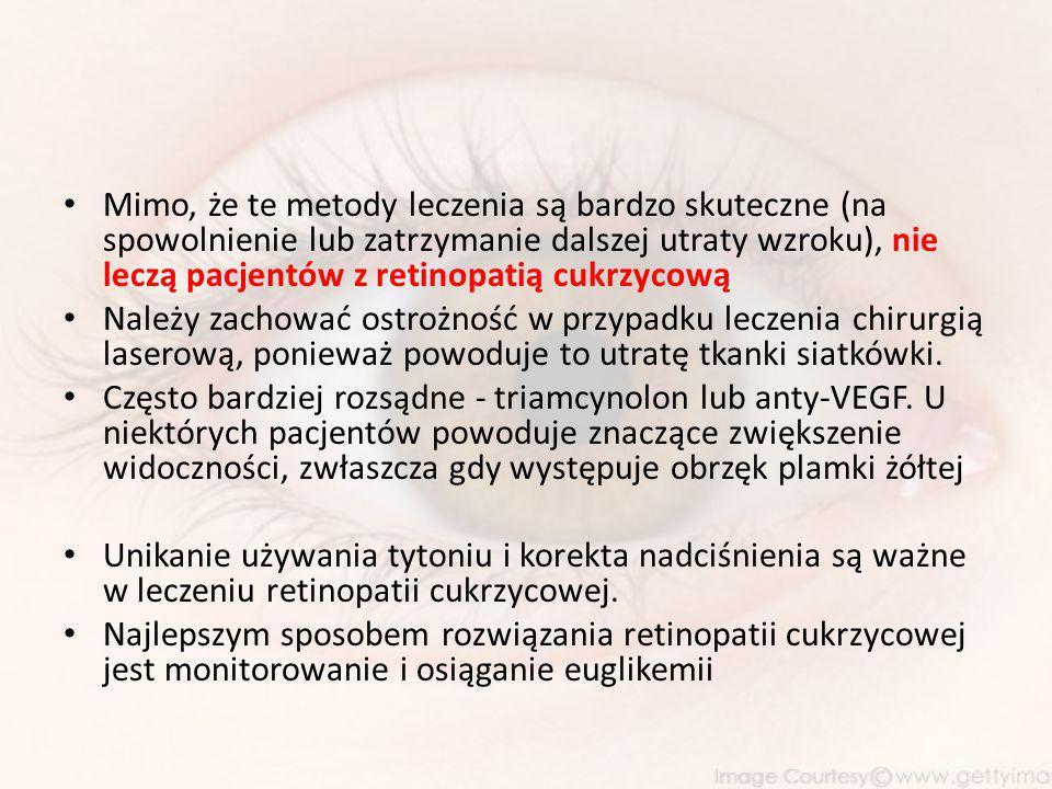 Mimo, że te metody leczenia są bardzo skuteczne (na spowolnienie lub zatrzymanie dalszej utraty wzroku), nie leczą pacjentów z retinopatią cukrzycową