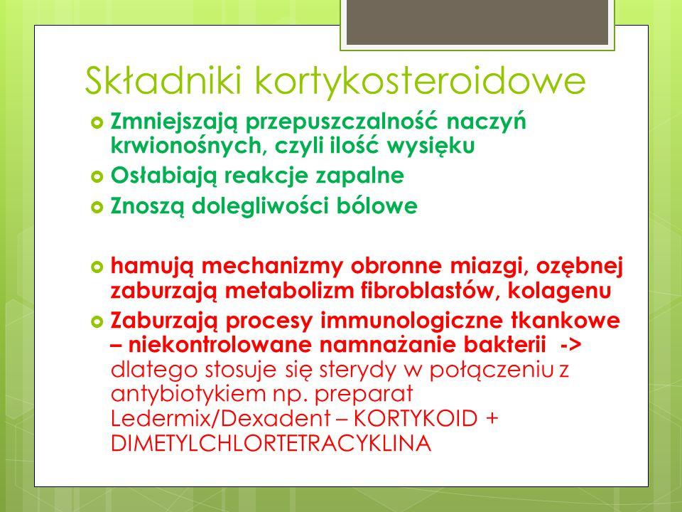 Składniki kortykosteroidowe