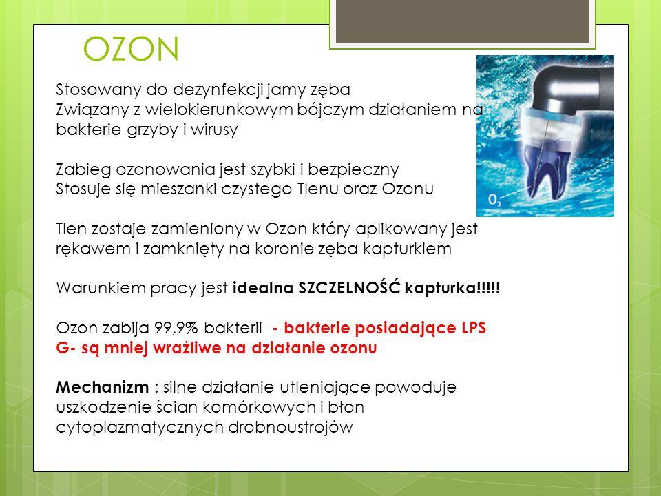 OZON Stosowany do dezynfekcji jamy zęba