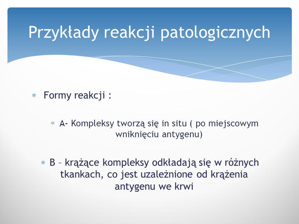 Przykłady reakcji patologicznych
