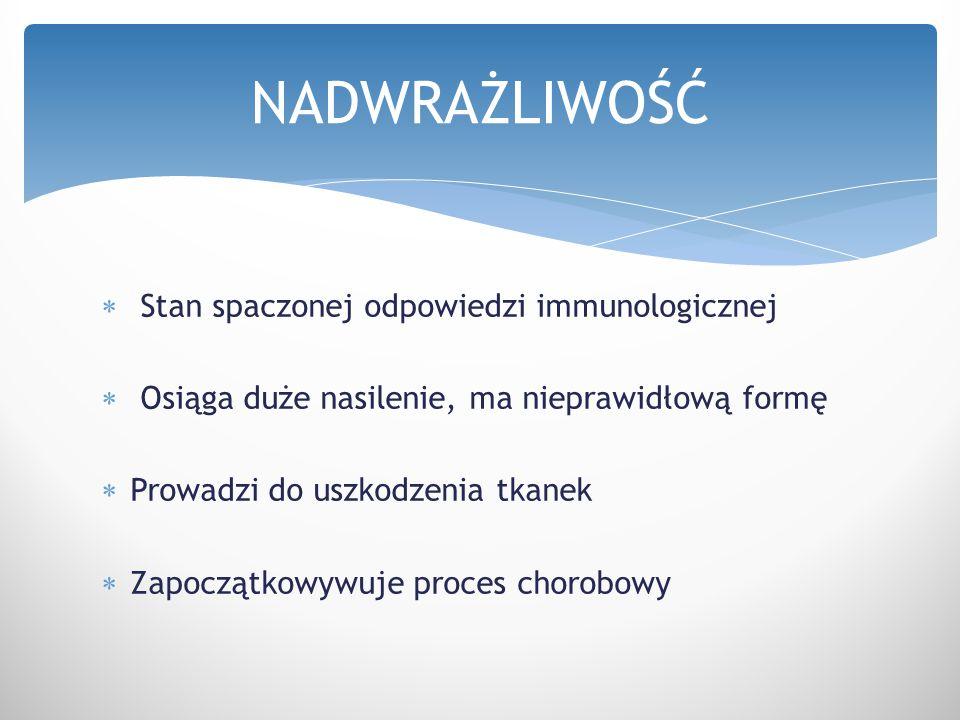 NADWRAŻLIWOŚĆ Stan spaczonej odpowiedzi immunologicznej