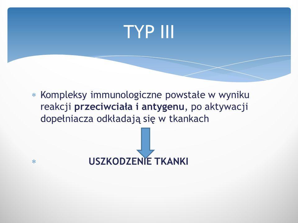 TYP III Kompleksy immunologiczne powstałe w wyniku reakcji przeciwciała i antygenu, po aktywacji dopełniacza odkładają się w tkankach.