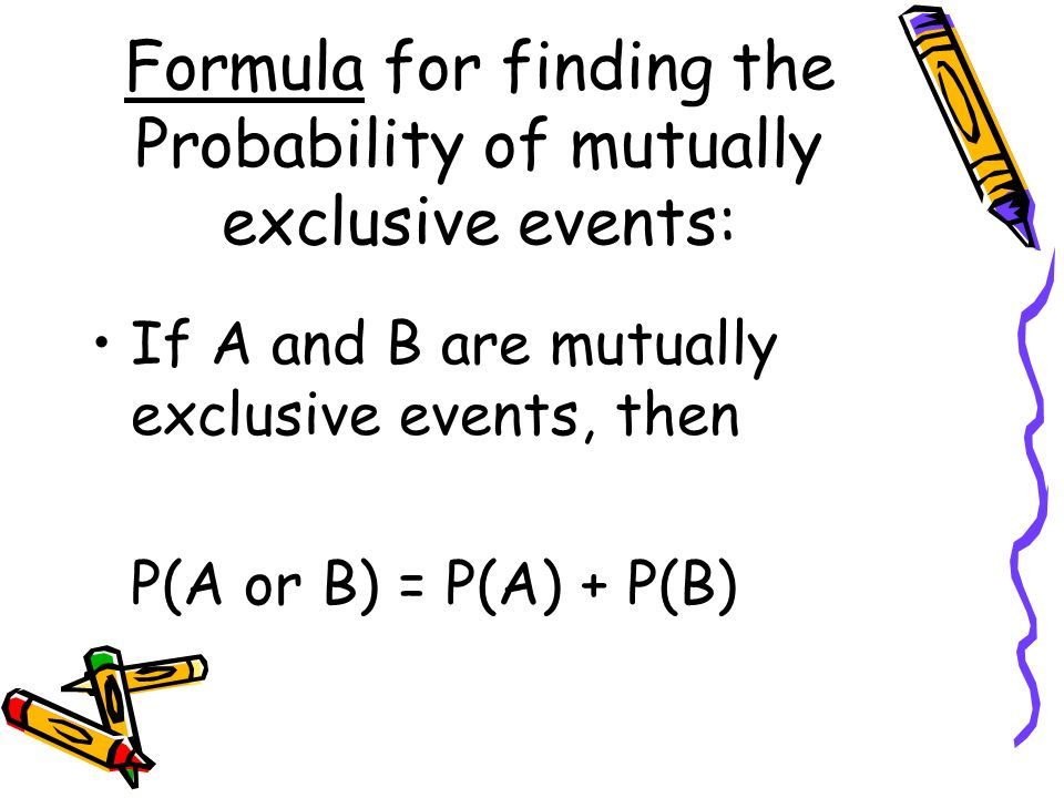 Formula for finding the Probability of mutually exclusive events: