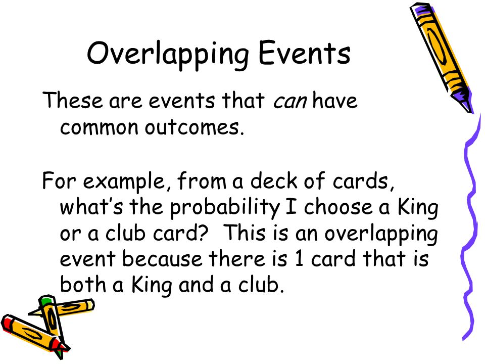 Overlapping Events These are events that can have common outcomes.