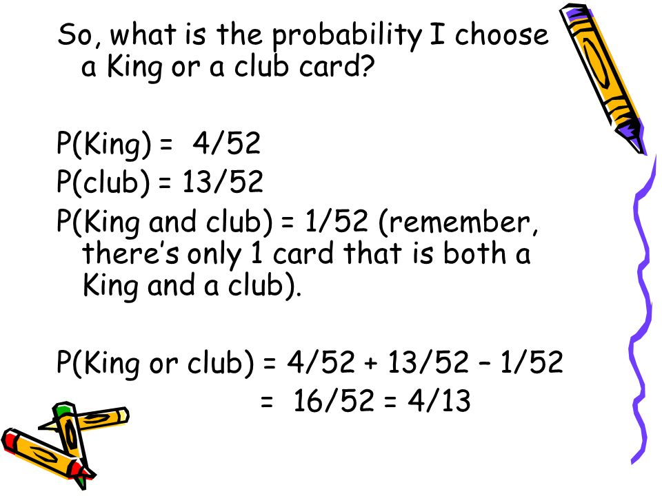 So, what is the probability I choose a King or a club card
