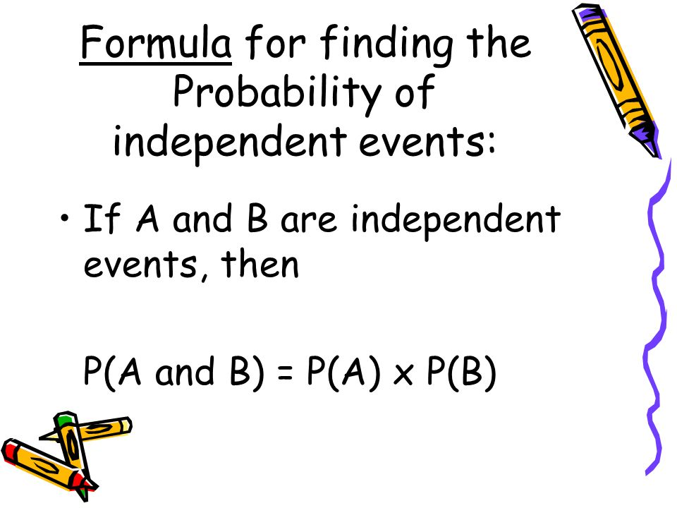 Formula for finding the Probability of independent events: