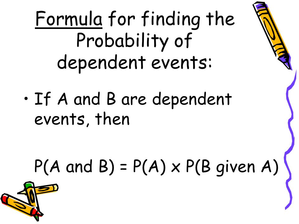 Formula for finding the Probability of dependent events: