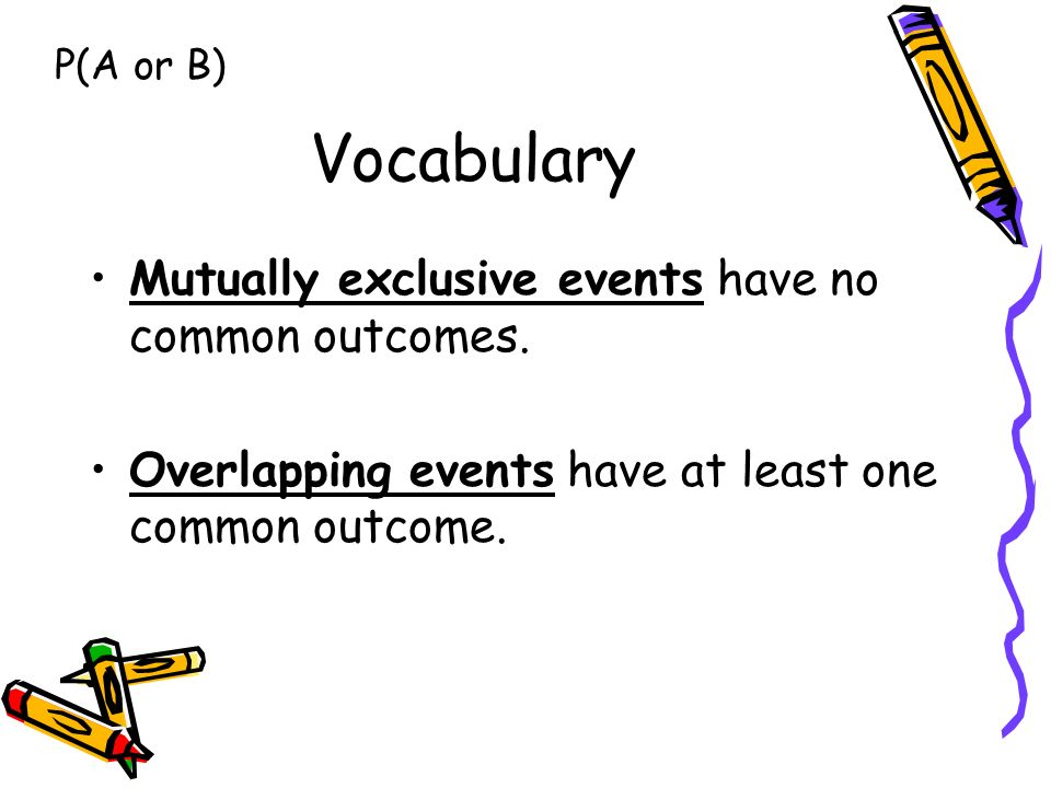 Vocabulary Mutually exclusive events have no common outcomes.