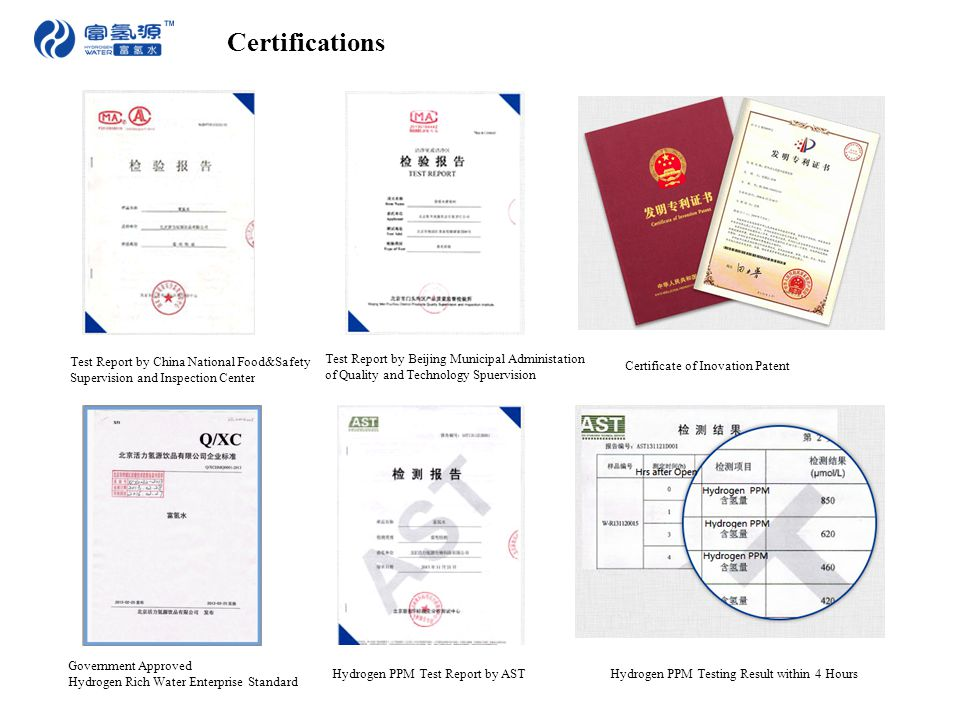 Certifications Test Report by China National Food&Safety