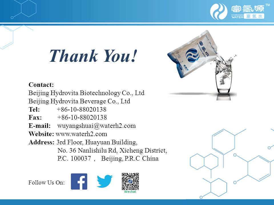 Thank You! Contact: Beijing Hydrovita Biotechnology Co., Ltd