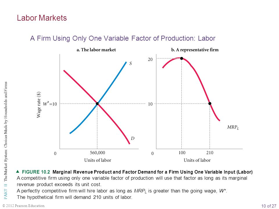 Labor Markets A Firm Using Only One Variable Factor of Production: Labor.