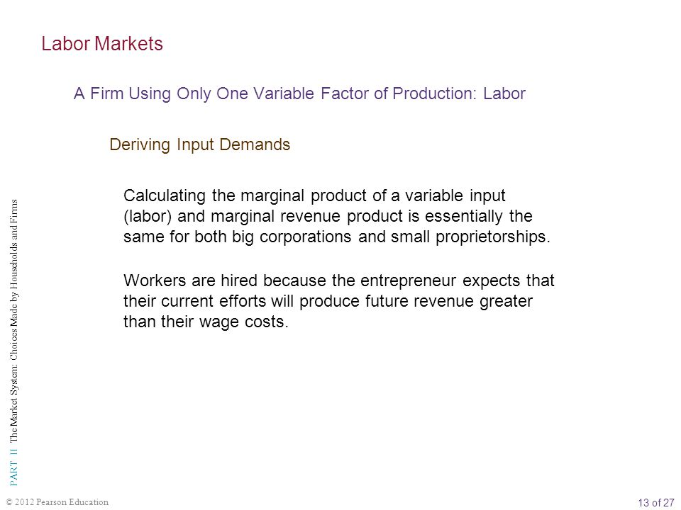 Labor Markets A Firm Using Only One Variable Factor of Production: Labor. Deriving Input Demands.