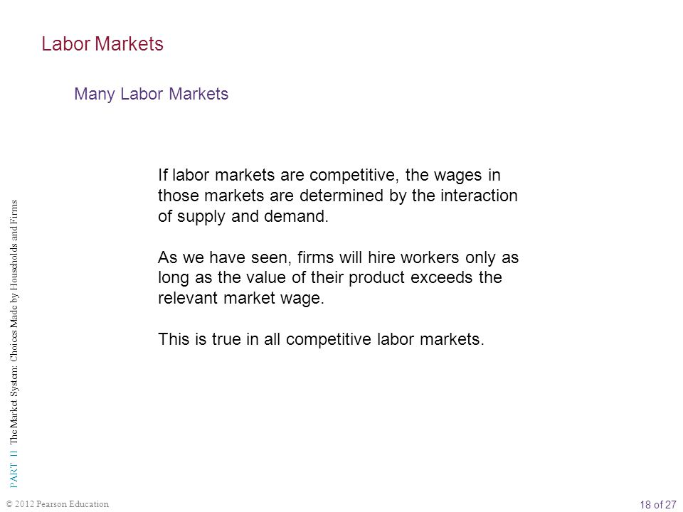 Labor Markets Many Labor Markets