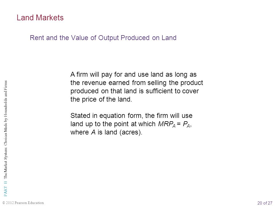 Land Markets Rent and the Value of Output Produced on Land