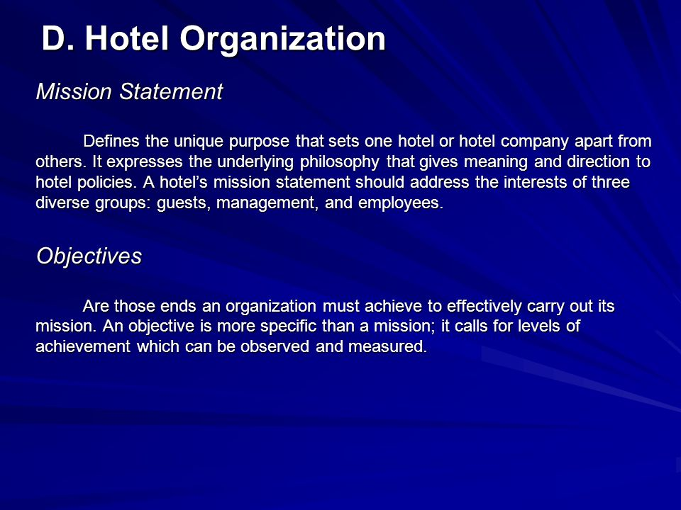 D. Hotel Organization Mission Statement Objectives