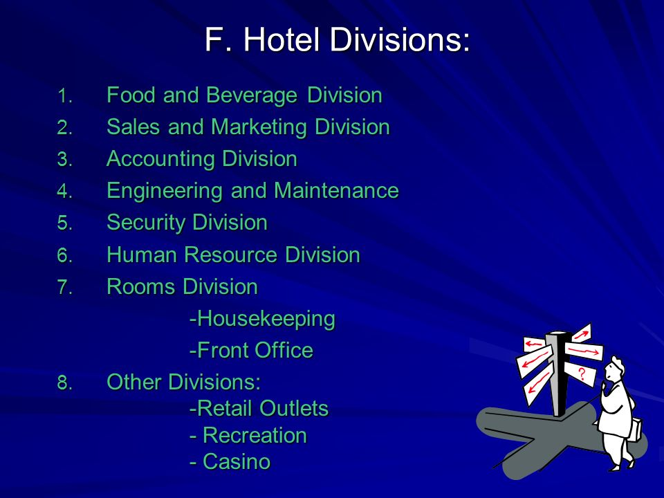 F. Hotel Divisions: Food and Beverage Division