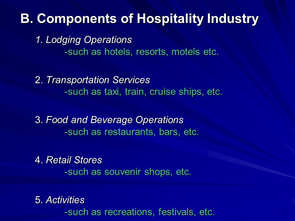 B. Components of Hospitality Industry