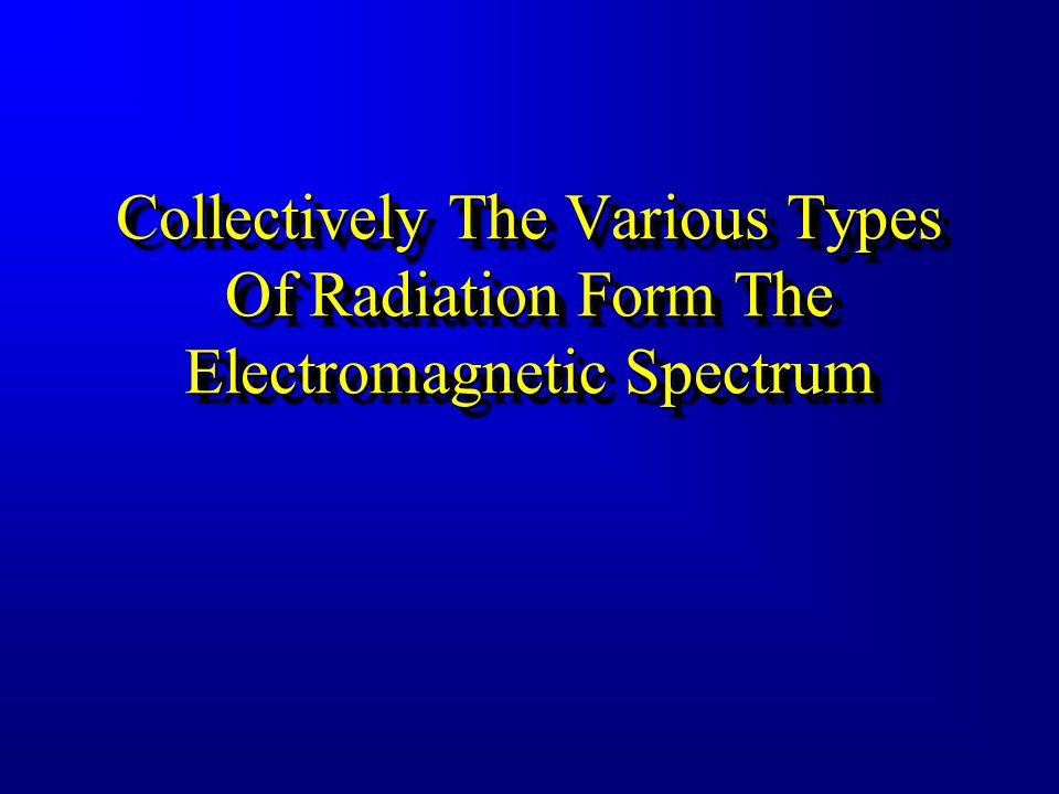Collectively The Various Types Of Radiation Form The Electromagnetic Spectrum
