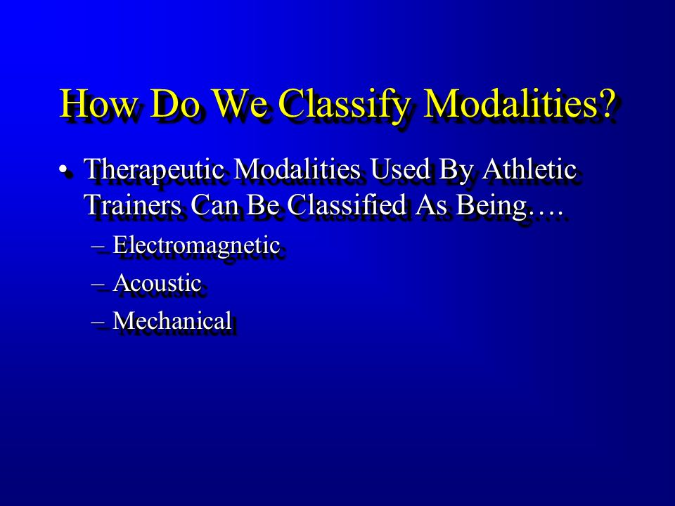 How Do We Classify Modalities