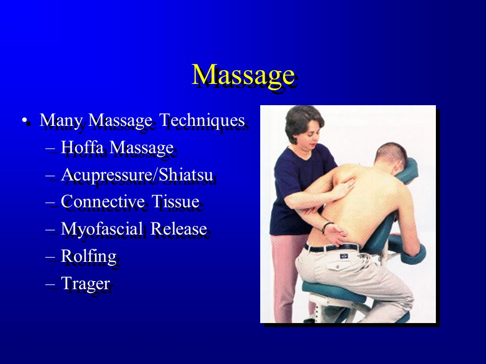 Massage Many Massage Techniques Hoffa Massage Acupressure/Shiatsu