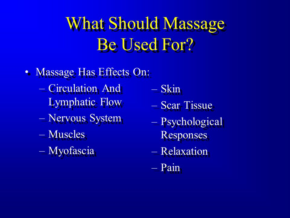 What Should Massage Be Used For