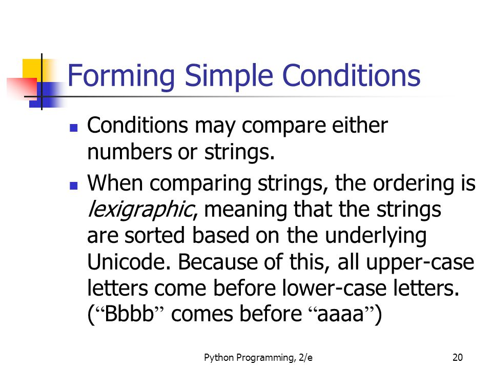 Forming Simple Conditions