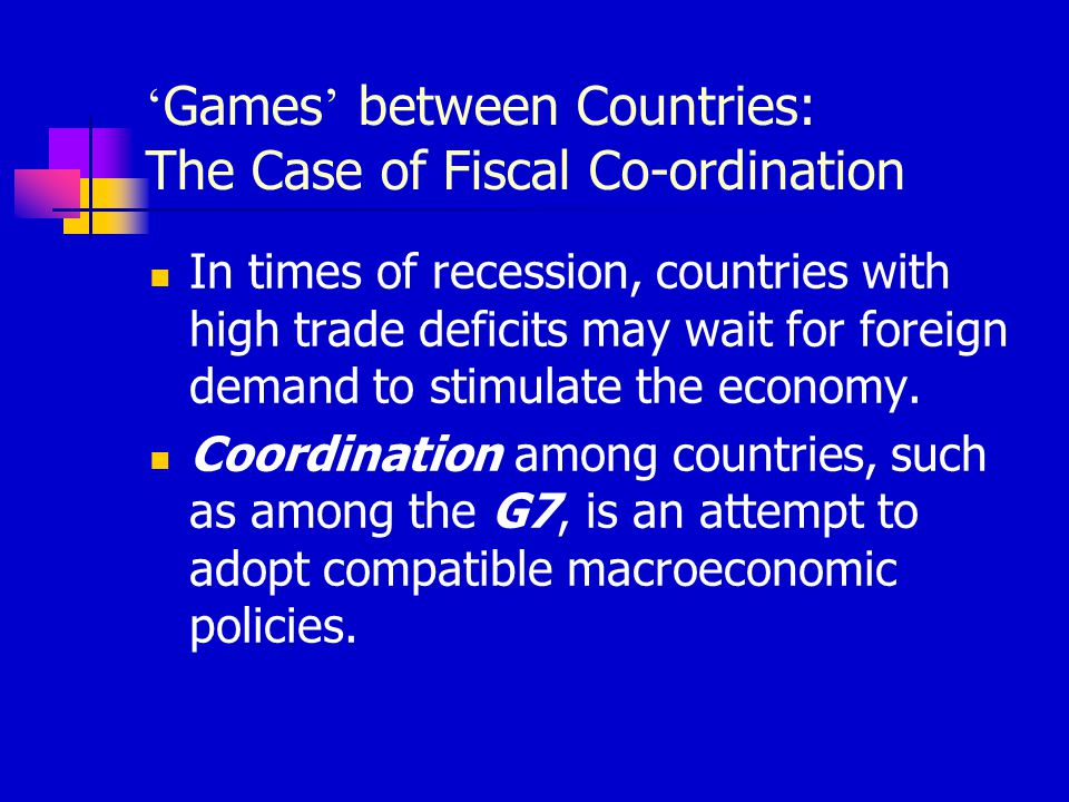 'Games' between Countries: The Case of Fiscal Co-ordination
