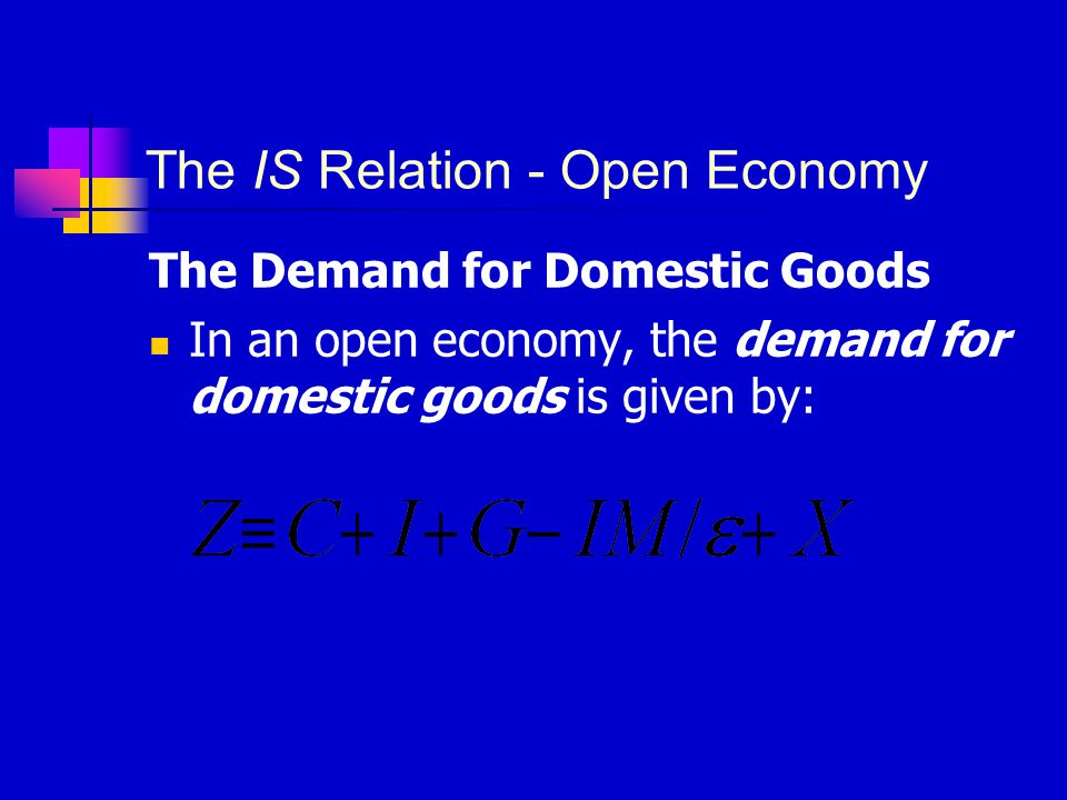 The IS Relation - Open Economy