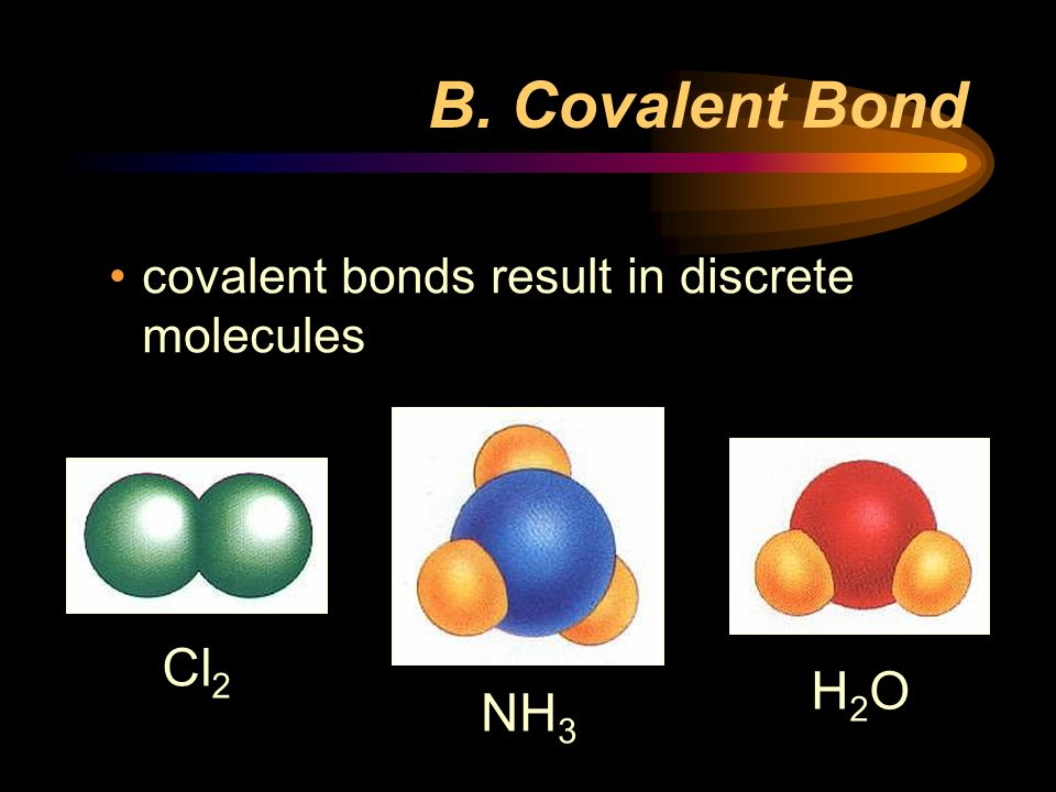 B. Covalent Bond covalent bonds result in discrete molecules NH3 H2O Cl2