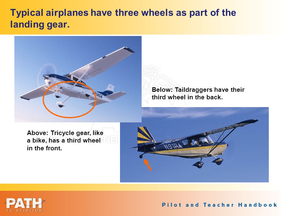 Typical airplanes have three wheels as part of the landing gear.