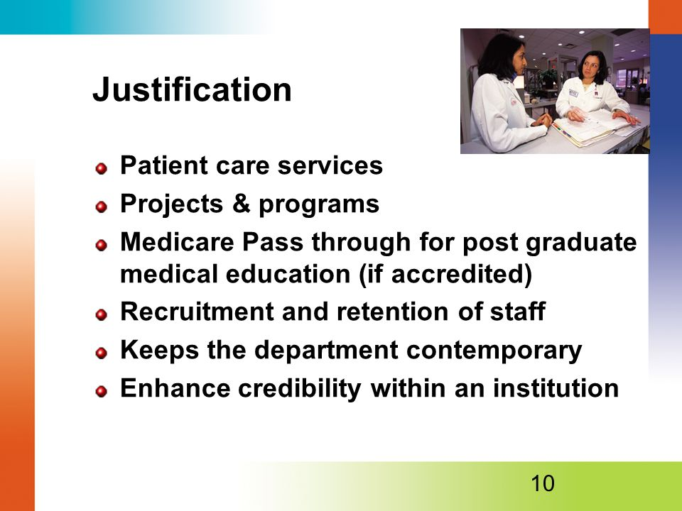 Justification Patient care services Projects & programs
