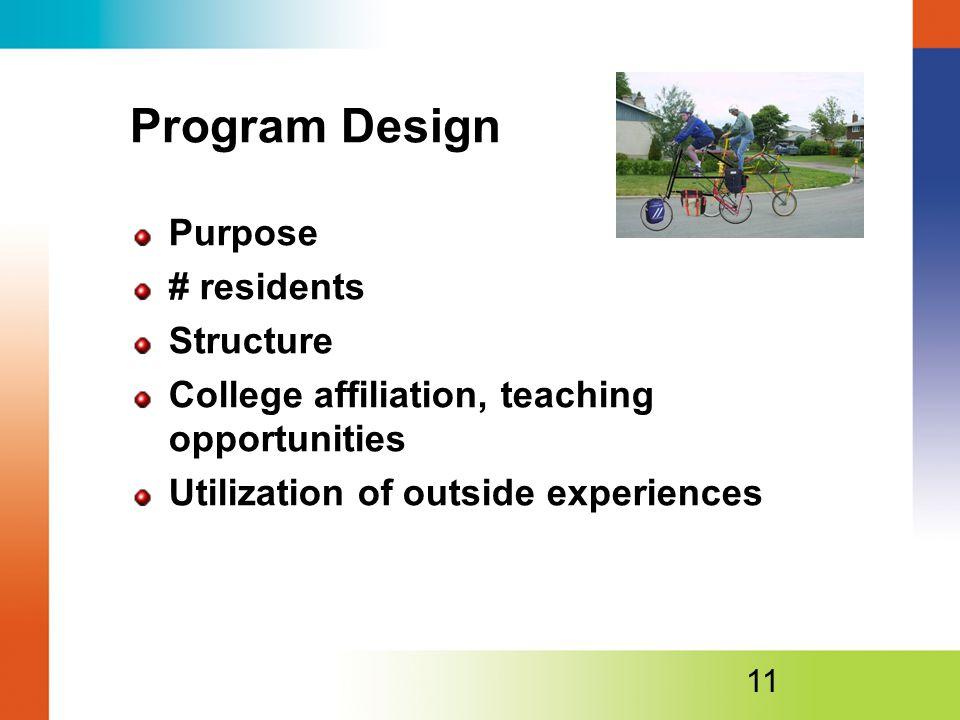 Program Design Purpose # residents Structure