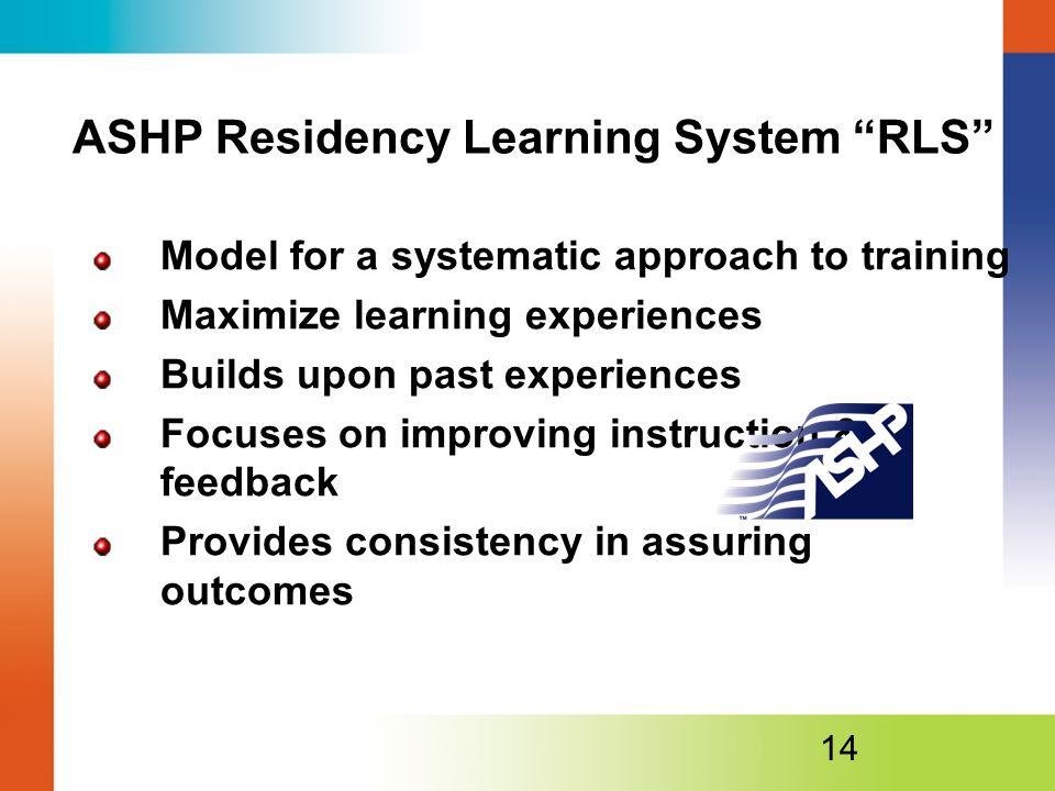 ASHP Residency Learning System RLS