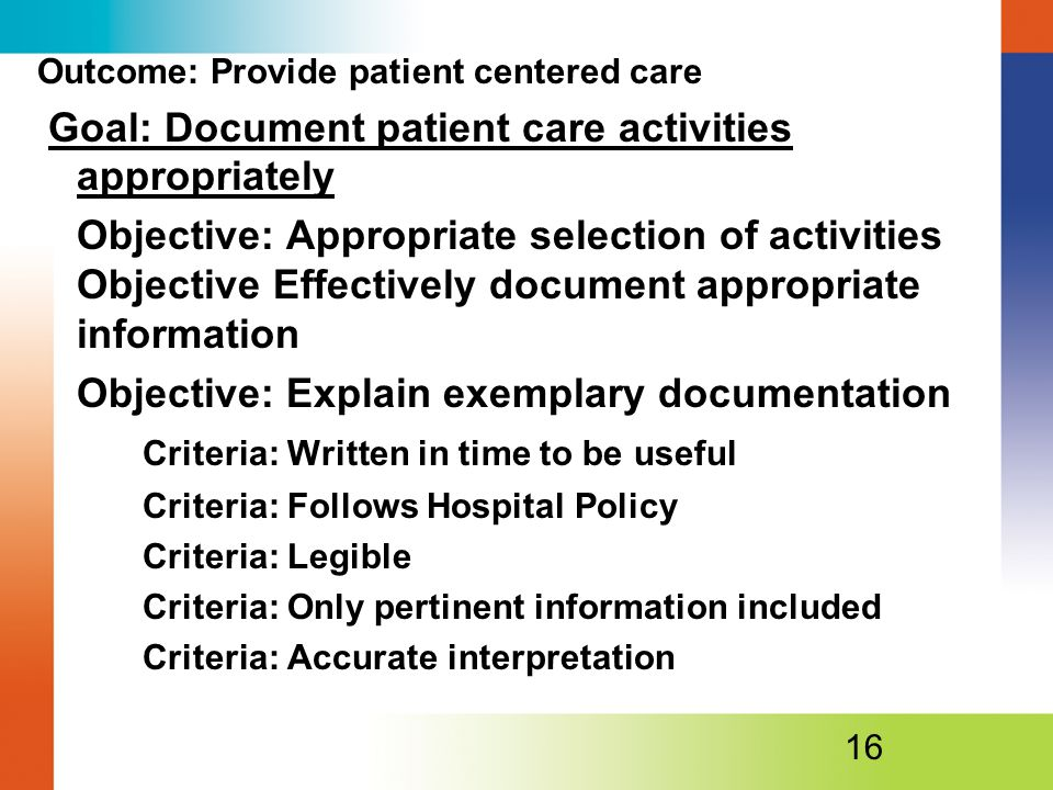 Goal: Document patient care activities appropriately