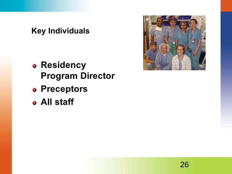 Residency Program Director Preceptors All staff