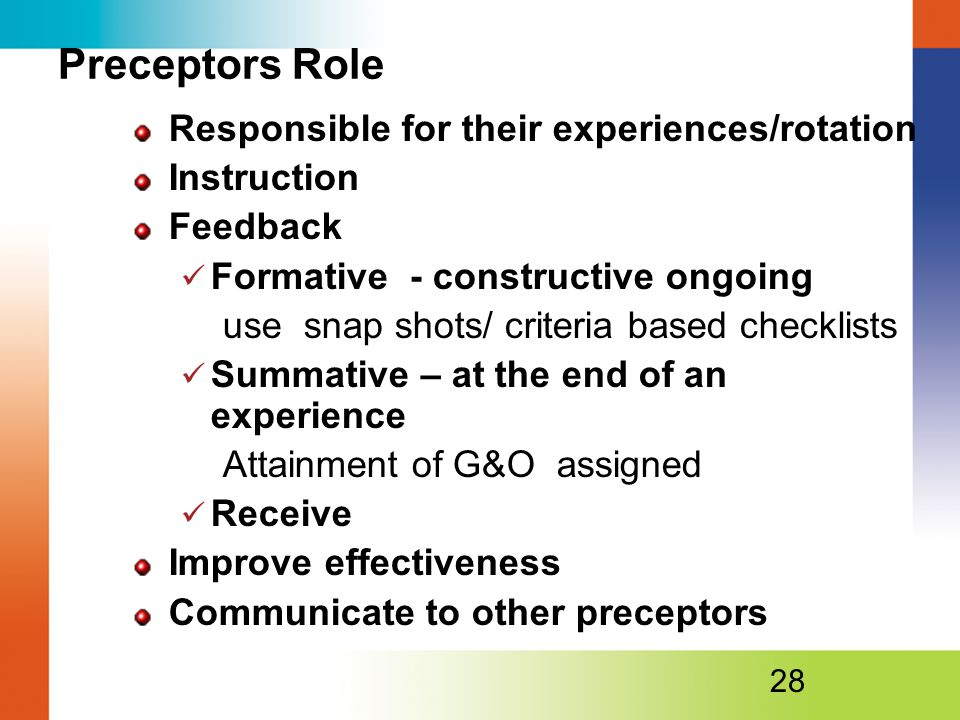 Preceptors Role Responsible for their experiences/rotation Instruction