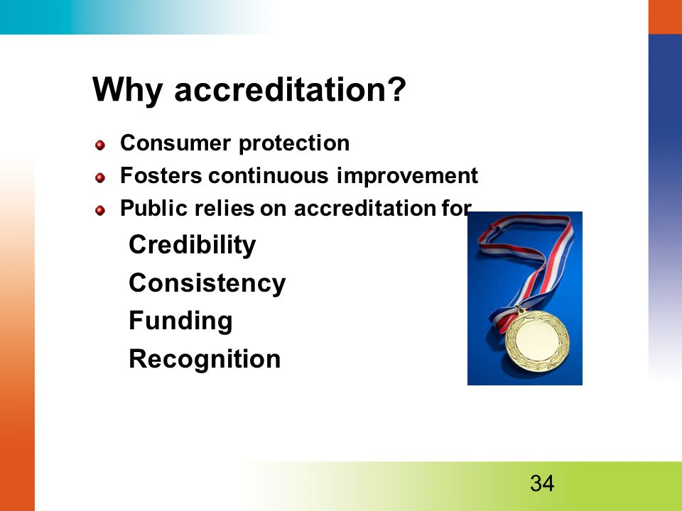 Why accreditation Credibility Consistency Funding Recognition