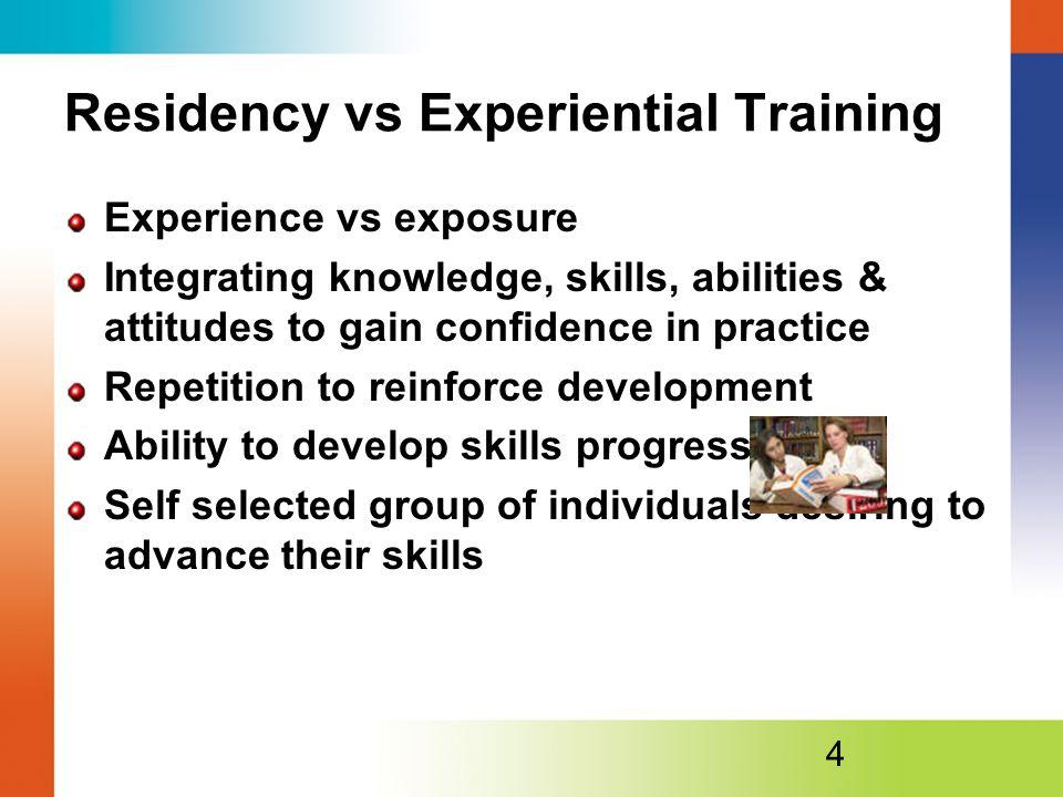 Residency vs Experiential Training