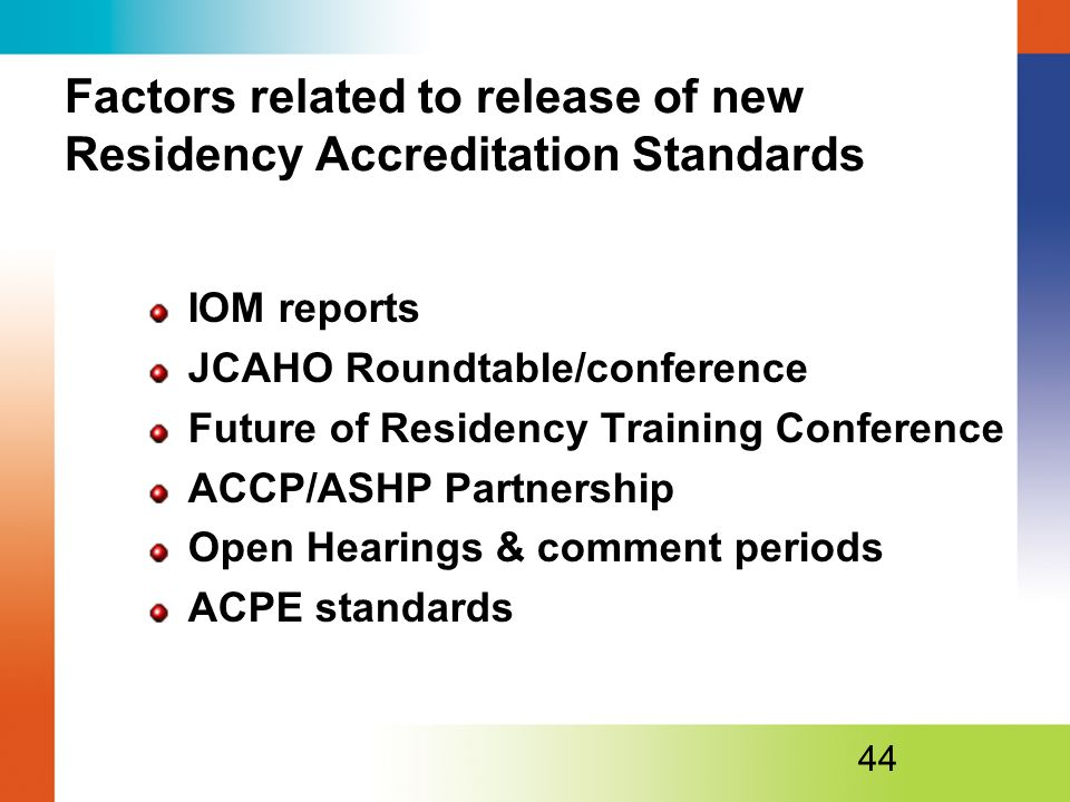 Factors related to release of new Residency Accreditation Standards