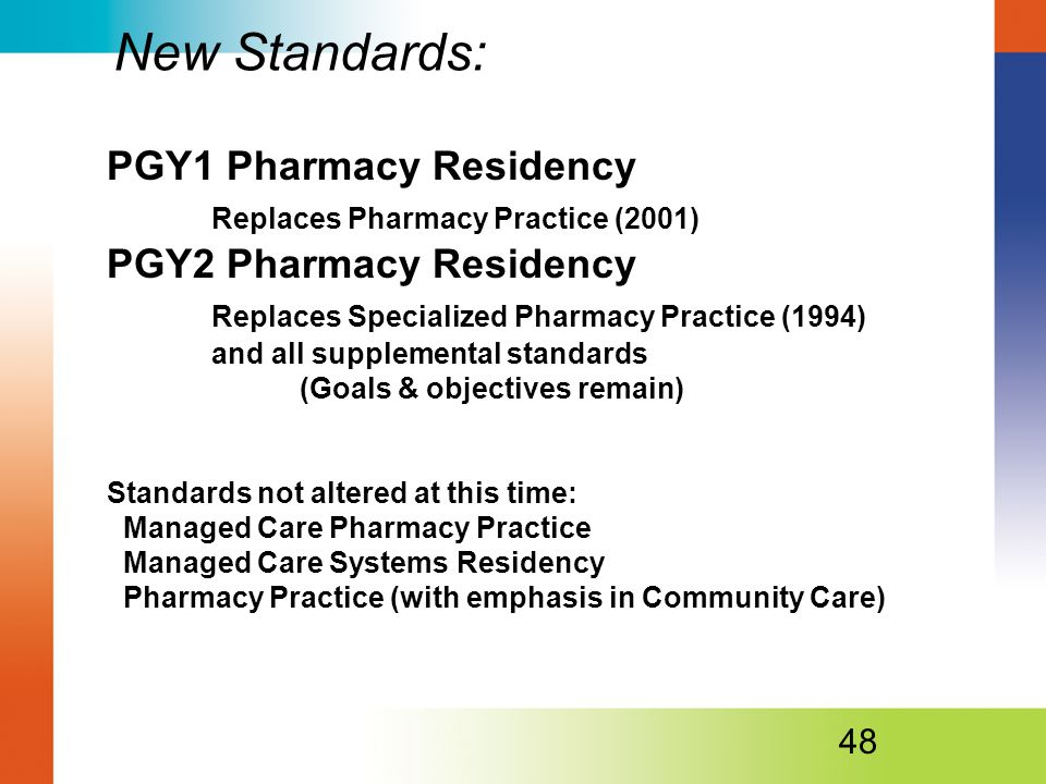 New Standards: PGY1 Pharmacy Residency