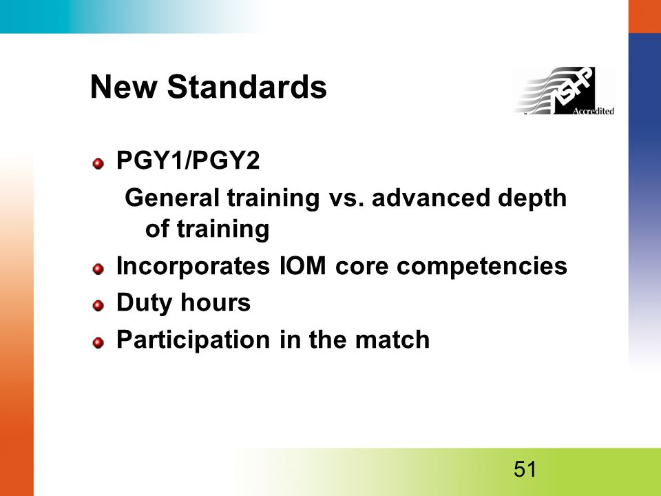 New Standards PGY1/PGY2. General training vs. advanced depth of training. Incorporates IOM core competencies.
