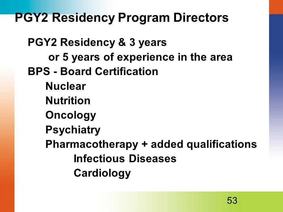 PGY2 Residency Program Directors