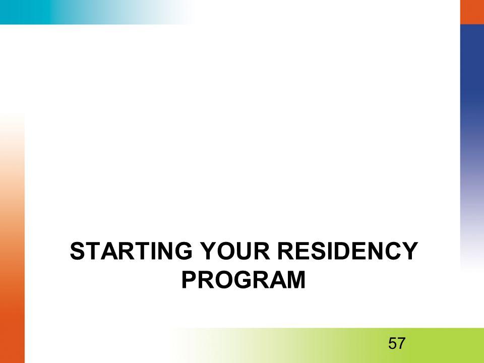 STARTING YOUR RESIDENCY PROGRAM