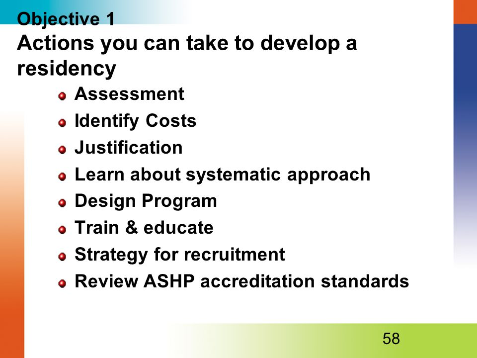 Objective 1 Actions you can take to develop a residency