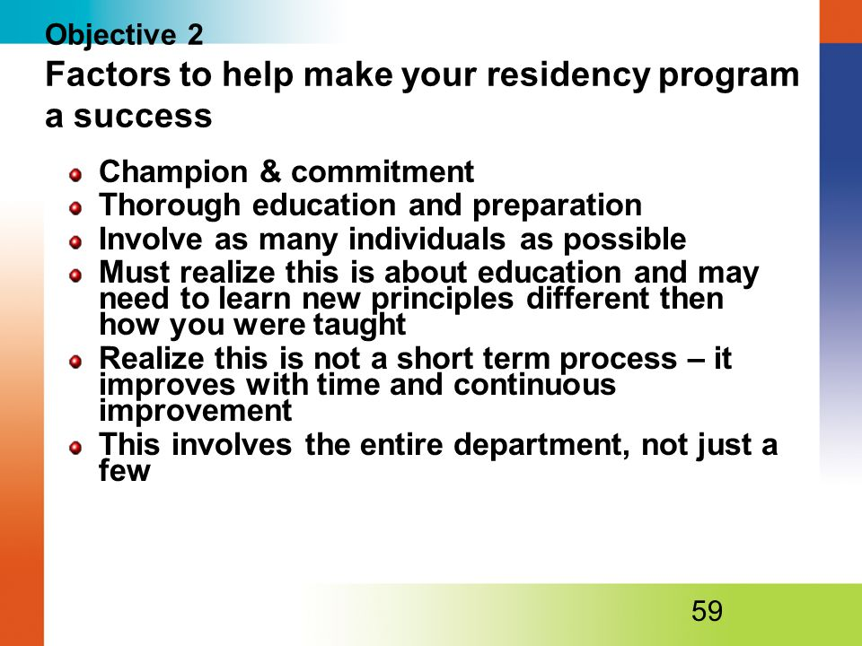 Objective 2 Factors to help make your residency program a success
