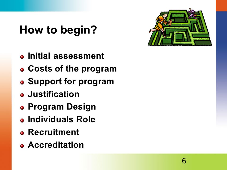 How to begin Initial assessment Costs of the program