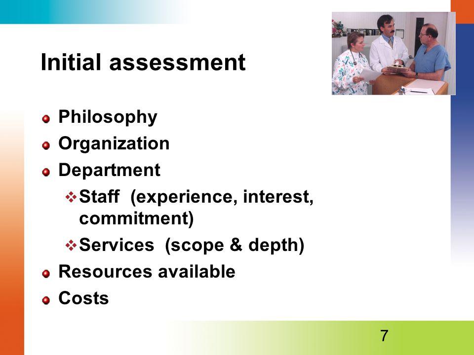 Initial assessment Philosophy Organization Department