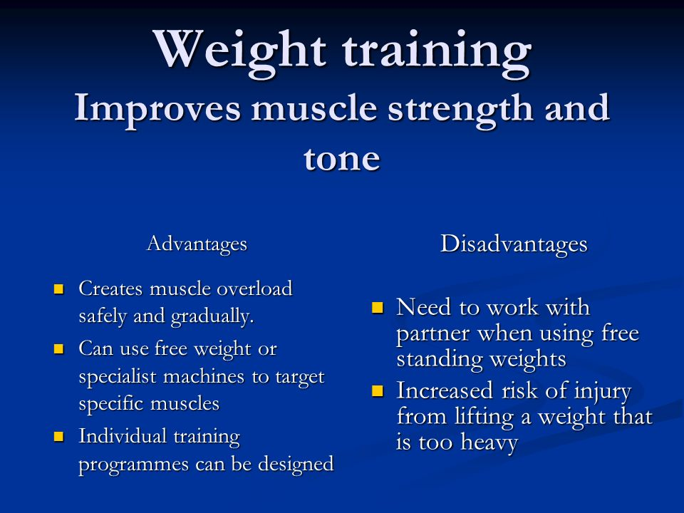 Weight training Improves muscle strength and tone