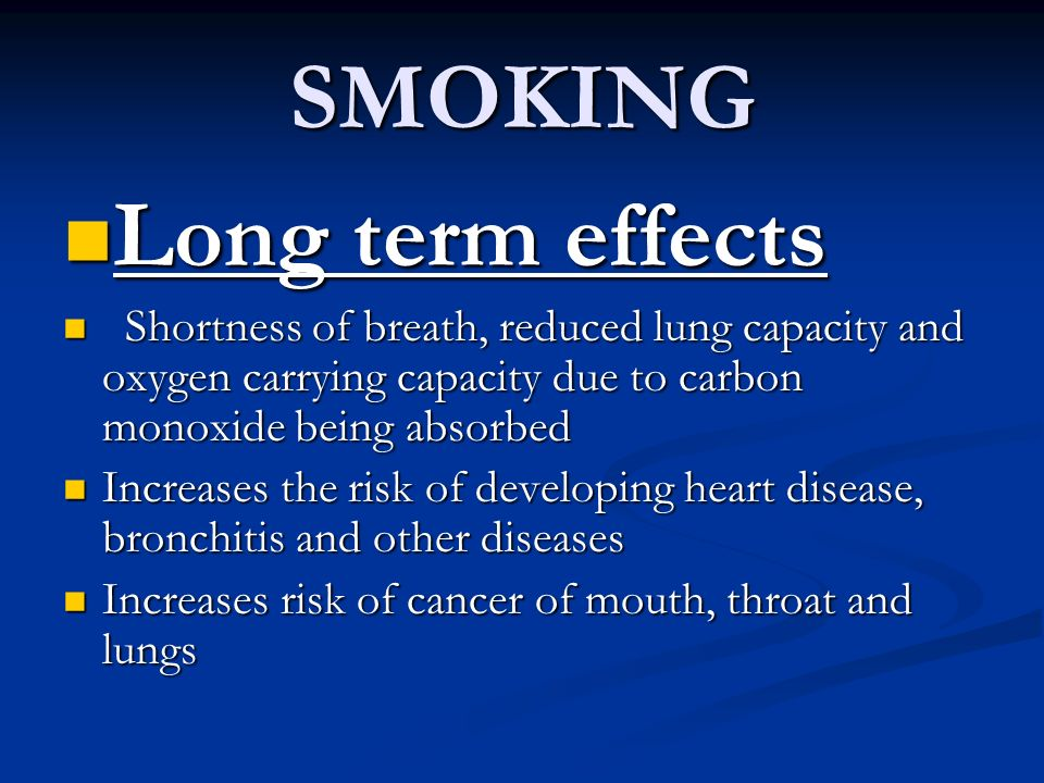 SMOKING Long term effects