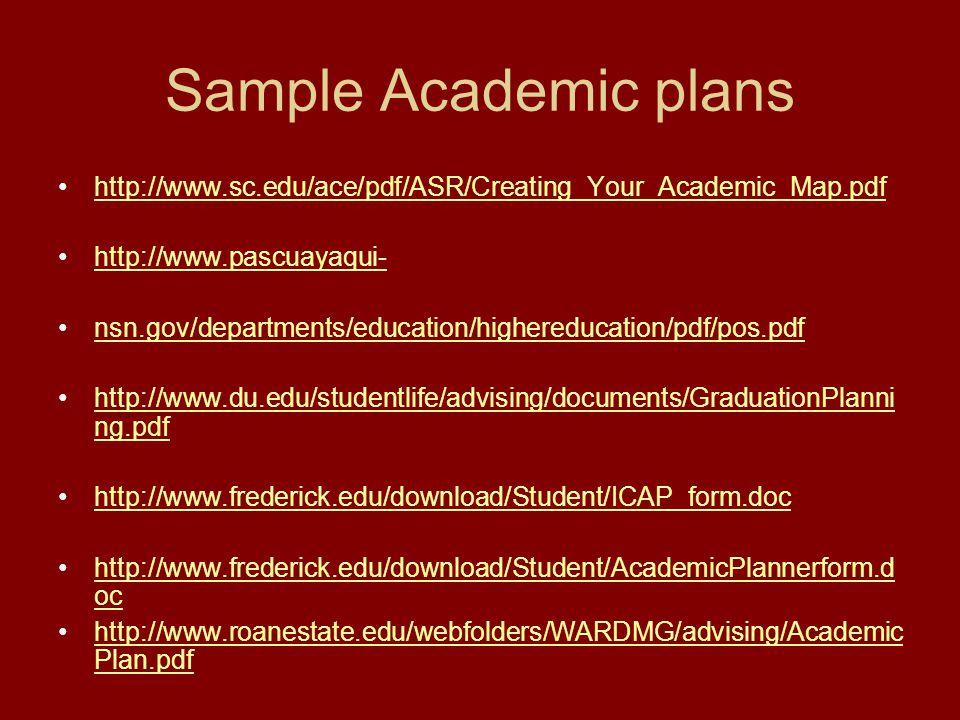 Sample Academic plans http://www.sc.edu/ace/pdf/ASR/Creating_Your_Academic_Map.pdf. http://www.pascuayaqui-